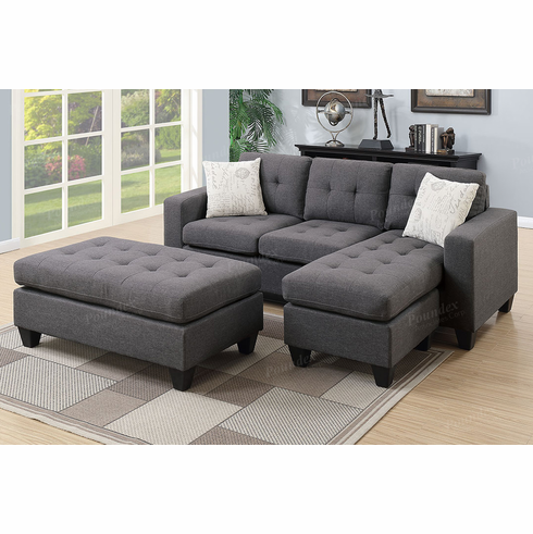 Charmant Poundex Associates Item F6920: 3 PCs All In One Reversible Mini Sectional  Sofa