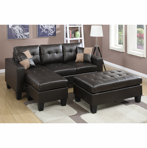 Poundex Associates Item F6927: 3 PCs All In One Reversible Mini Sectional  Sofa