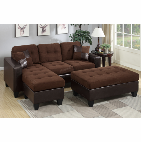 Poundex Associates Item F6928: 3 PCs All In One Reversible Mini Sectional  Sofa