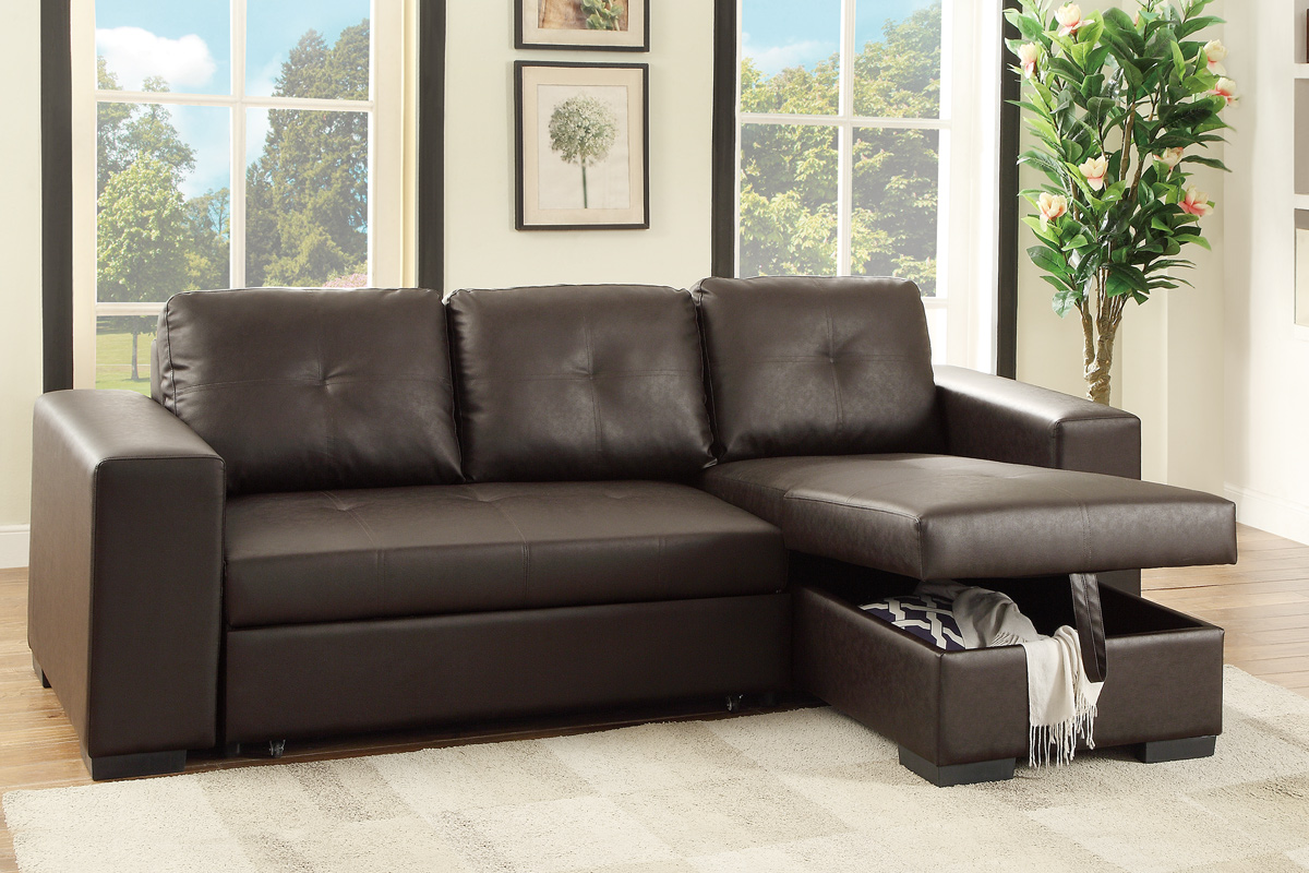 Convertible Mini Sectional Sofa W/ Pull   Out Bed