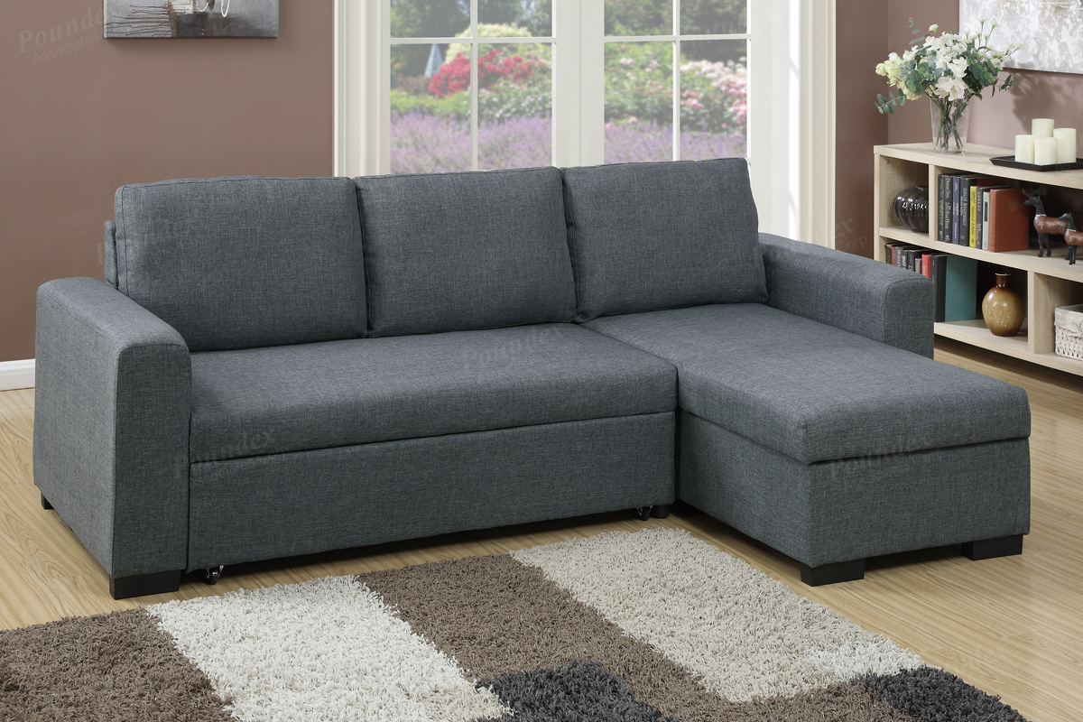 Poundex Ociates Item F6931 Convertible Mini Sectional Sofa W Pull Out Bed