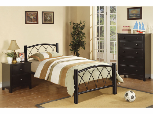 Poundex Furniture Item F9016T:  Twin Size Metal Bed Frame