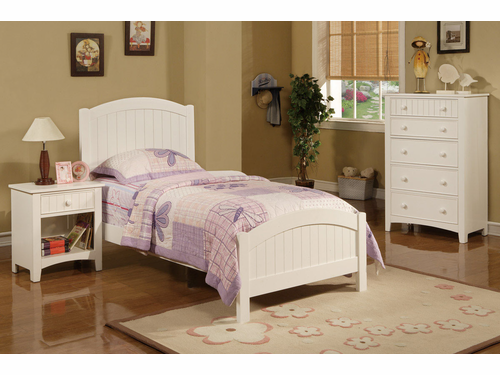 Poundex Furniture Item F9049: White Finish Twin Size Bed Frame