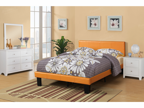Poundex Furniture Item F9205T: Twin Size Faux Leather Bed Frame