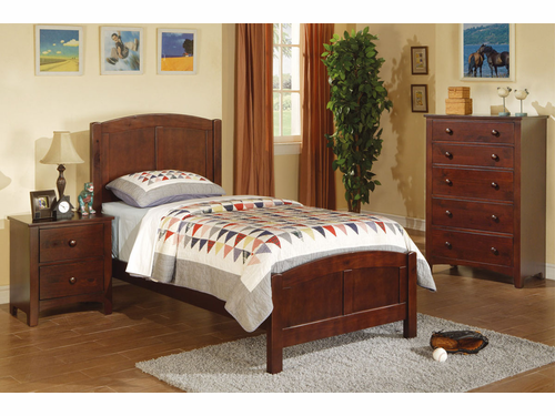 Poundex Furniture Item F9207: Dark Oak Finish Twin Size Bed Frame