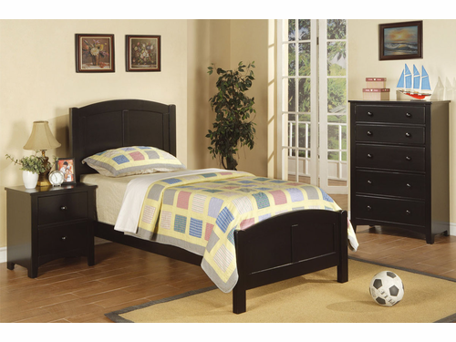 Poundex Furniture Item F9208: Black Finish Twin Size Bed Frame