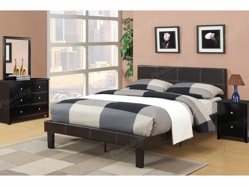 Poundex Furniture Item F9212F: Full Size Faux Leather Bed Frame