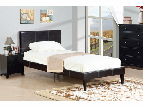 Poundex Furniture Item F9212T: Twin Size Faux Leather Bed Frame