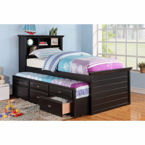 Poundex Furniture Item F9219: Twin Bed With Trundle And Storage