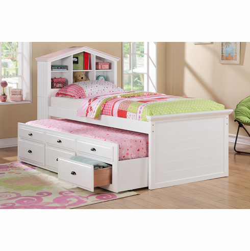 Poundex Furniture Item F9223: Twin Bed With Trundle And Storage
