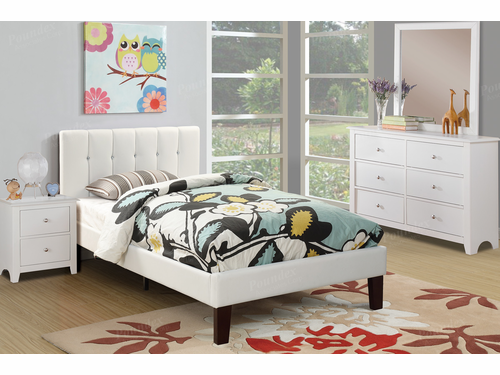 Poundex Furniture Item F9358T: Twin Size Faux Leather Bed Frame