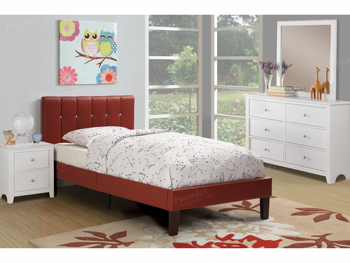 Poundex Furniture Item F9359T: Twin Size Faux Leather Bed Frame