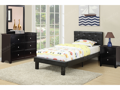 Poundex Furniture Item F9415F: Full Size Faux Leather Bed Frame