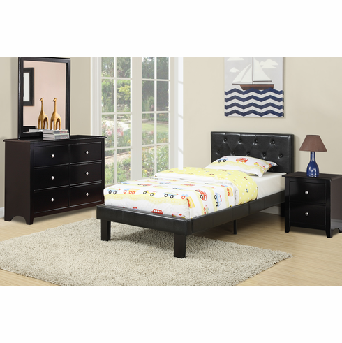 Poundex Furniture Item F9415T: Twin Size Faux Leather Bed Frame