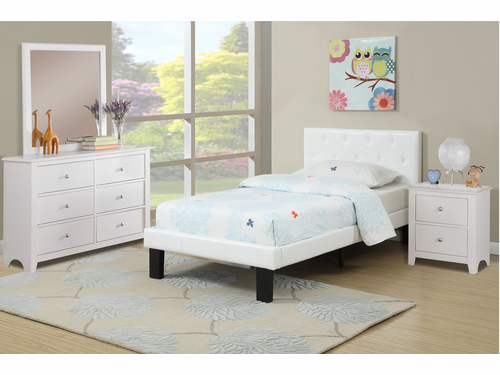 Poundex Furniture Item F9416T: Twin Size Faux Leather Bed Frame