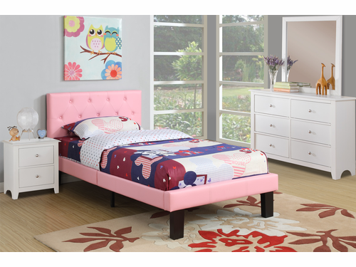 Poundex Furniture Item F9417T: Twin Size Faux Leather Bed Frame