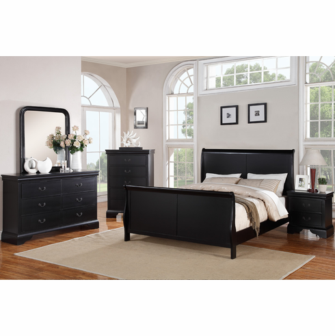 Poundex F9230Q:Black Queen Size Bed Frame