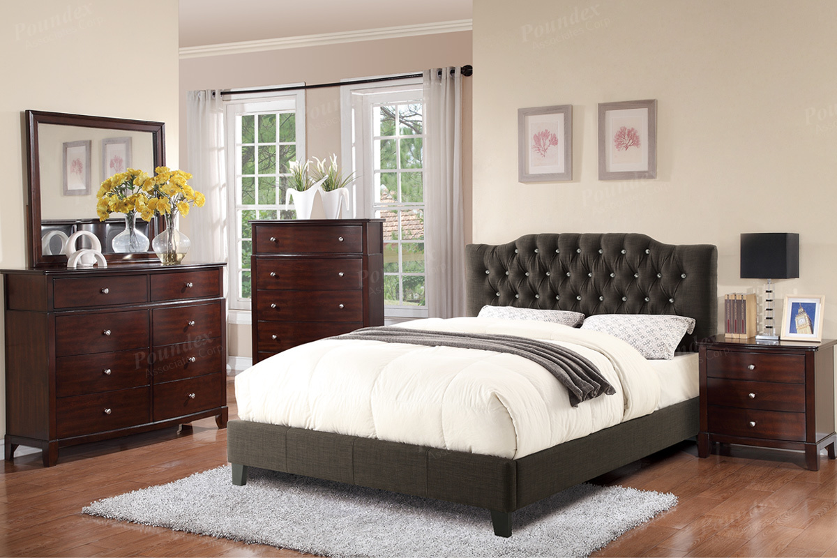Poundex Associates Item F9332Q Queen Size Platform Bed Frame