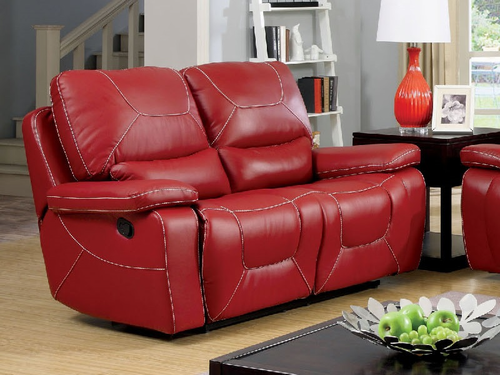 Red Bonded Leather Match Loveseat W/2 Recliners