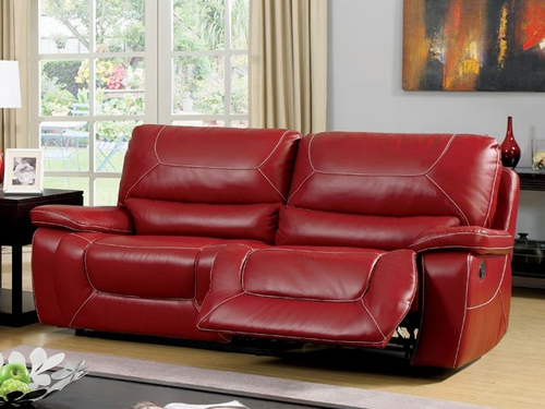 Red Bonded Leather Match Sofa/2 Recliners