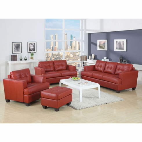 Platinum Collection Red Bonded Leather Sofa and Loveseat Set