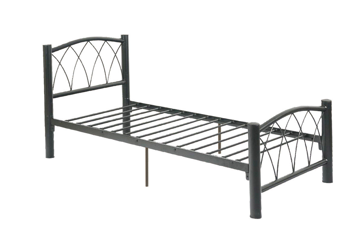 Poundex f9016t black metal twin size bed frame Metal bed frame twin