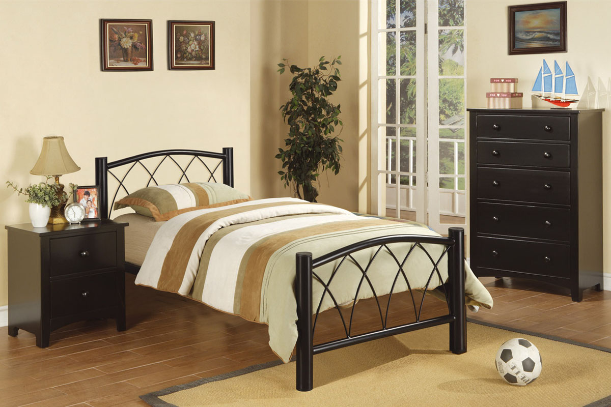 Poundex F9016T Black Metal Twin Size Bed Frame