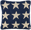 American Blue Stars Hooked Pillow