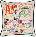 Atlanta Georgia Handmade Embroidered Pillow