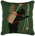 Handmade Camping Bear Fishing Hooked Pillow