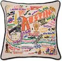 Catstudio Embroidered Handmade Austin Texas Pillow