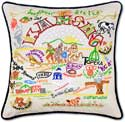 Catstudio Embroidered Handmade Kansas Geography Pillow