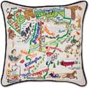 Catstudio Embroidered Handmade Vermont Geography Pillow