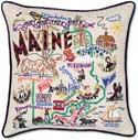 Catstudio Embroidered Maine Geography State Pillow