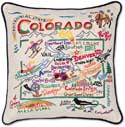 Catstudio Handmade Colorado Embroidered Geography Pillow