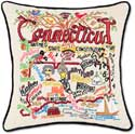 Catstudio Handmade Embroidered Geography Connecticut Pillow