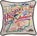 Catstudio Handmade Embroidered Indiana Geography Pillow