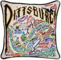 Catstudio Handmade Embroidered Pittsburgh Geography Pillow