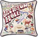 Catstudio Handmade Embroidered Ski Jackson Hole Pillow