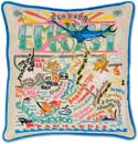 Catstudio Handmade Emerald Coast Florida Embroidered Pillow