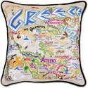 Catstudio Handmade Greece Embroidered Country Pillow