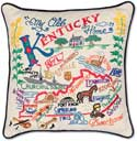 Catstudio Handmade Kentucky Embroidered Geography Pillow