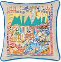 Catstudio Handmade Miami Florida Embroidered Pillow