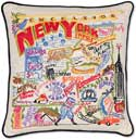 Catstudio Handmade New York State Embroidered Pillow