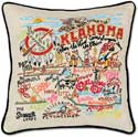 Catstudio Handmade Oklahoma Embroidered Geography Pillow