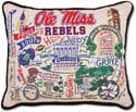 Catstudio Handmade Ole Miss Mississippi Embroidered Pillow