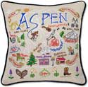 Catstudio Handmade Ski Aspen Embroidered Pillow