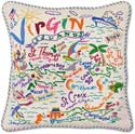 Catstudio Handmade Virgin Islands Embroidered Pillow