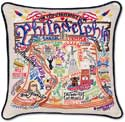 Catstudio Philadelphia Handmade Embroidered Geography Pillow