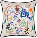 Catstudio Ski Utah Handmade Embroidered Pillow